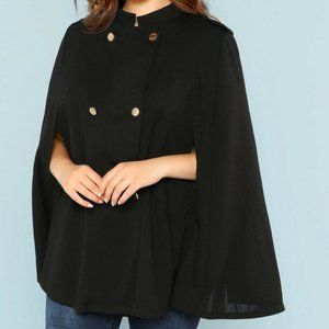 SHEIN Double Breasted Cape Coat